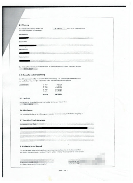 Scan: Darlehensvertrag Tradelore Coporation / Seite 2