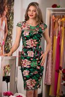 Rochie de seara conica din broderie florala multicolora