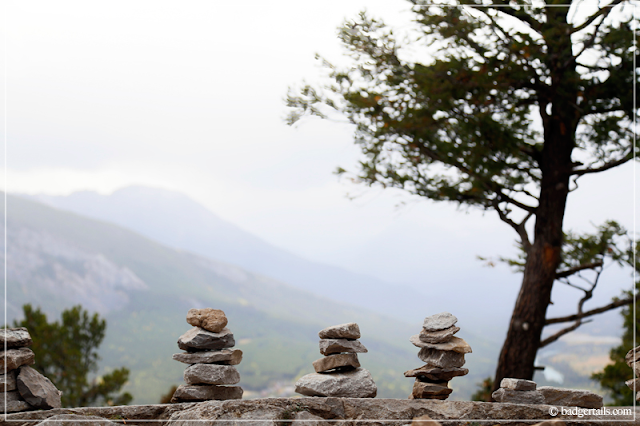 Relaxing Photograph of Rock Piles at top of Sleeping Buffalo / Tunnel Mountain in Canadian Rockies in Banff, Alberta, Canada. > See more on Badgertails.com <