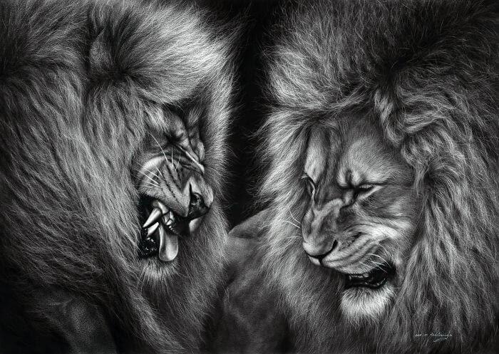 03-Lions-Danguole-Serstinskaja-Animal-Dry-Brush-Technique-Paintings-www-designstack-co
