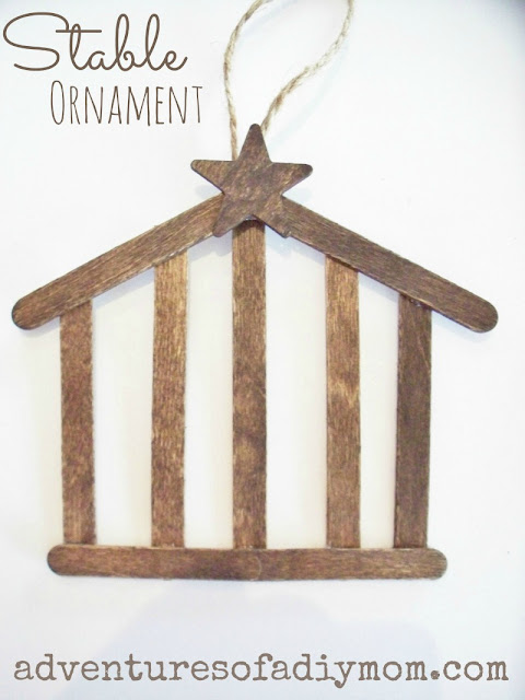 How to Make a Stable Ornament with craft sticks- Nativity Ornament
