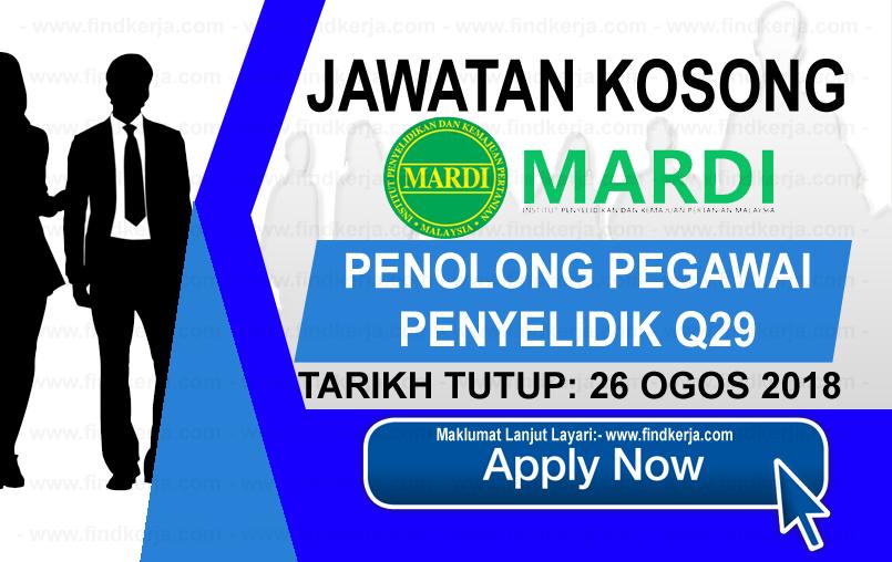 Jawatan Kerja Kosong MARDI - Institut Penyelidikan dan Kemajuan Pertanian Malaysia logo www.ohjob.info www.findkerja.com ogos 2018