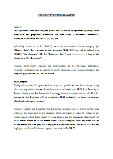 Non Compete Non Disclosure Agreement Template - Free Word Format ...