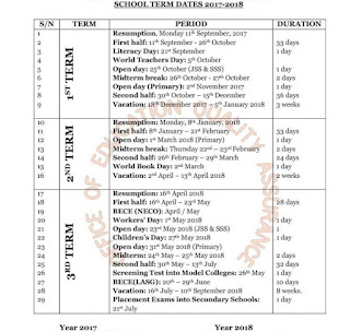Lagos State Government School Calendar