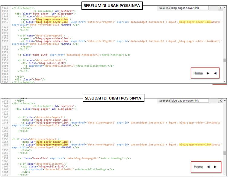 ubah posisi kode