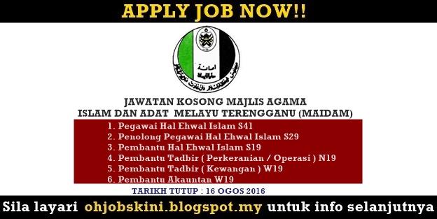 Jawatan Kosong Majlis Agama Islam Dan Adat Melayu Terengganu (MAIDAM)