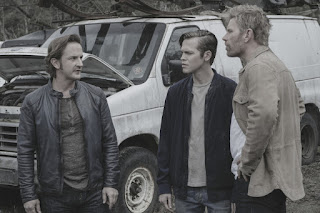 "Richard Speight Jr. as Gabriel, Alexander Calvert as Jack, and Mark Pellegrino as Lucifer in Supernatural 13x22 ""Exodus"""