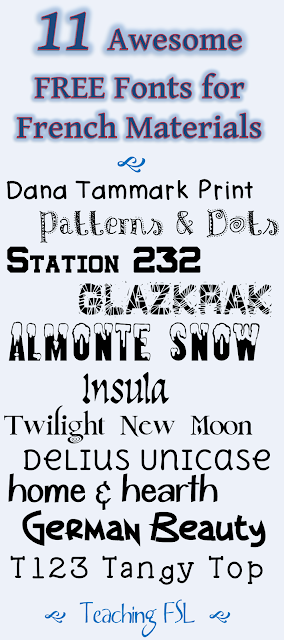Image of free fonts with accented characters for commerical or personal use compiled by Teaching FSL