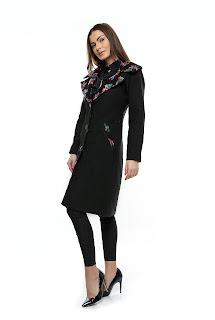 palton dama romanesc negru cu broderie