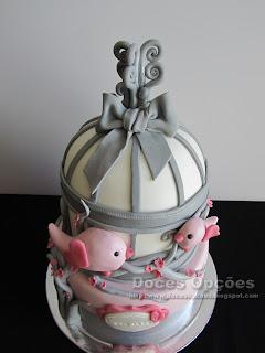 bolo aniversário gaiola passarinhos