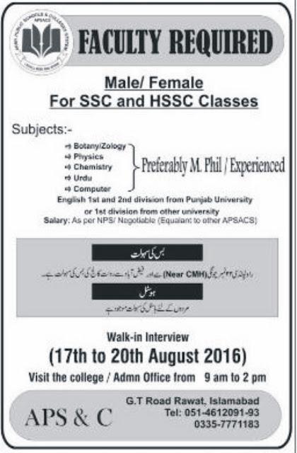 Teachers Jobs in Pakistan Army Public School Jobs in Islamabad jobs 2016