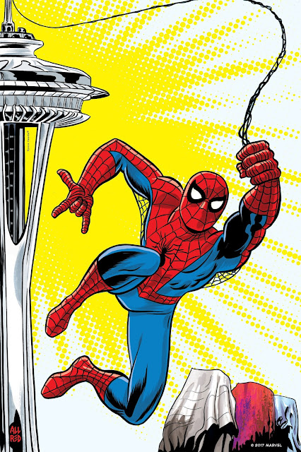 Michael Allred's interpretation shows Spider-Man swinging from the Space Needle