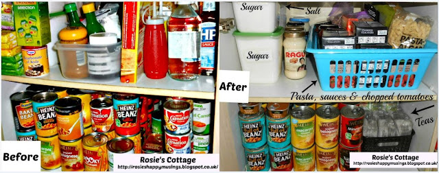 Organized pantry top shelves before & after.