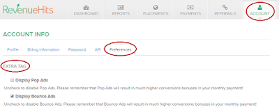 how to disable pop-ups and bounce ads in revenue hits