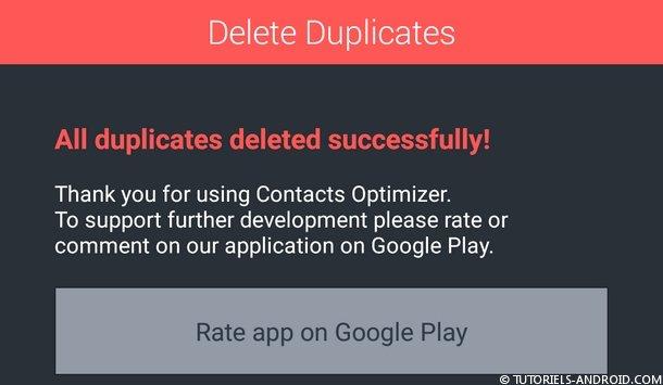 Contacts dupliqués supprimés