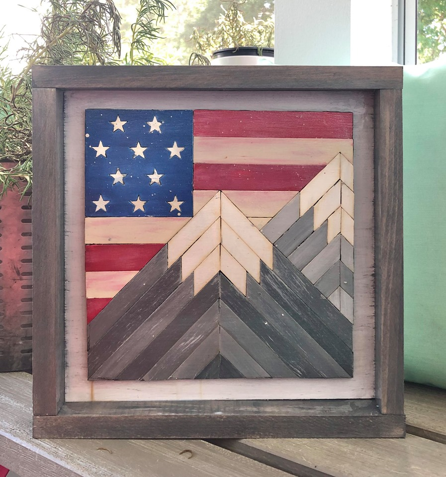 DIY KIT - American Flag Behind the Mountain Range