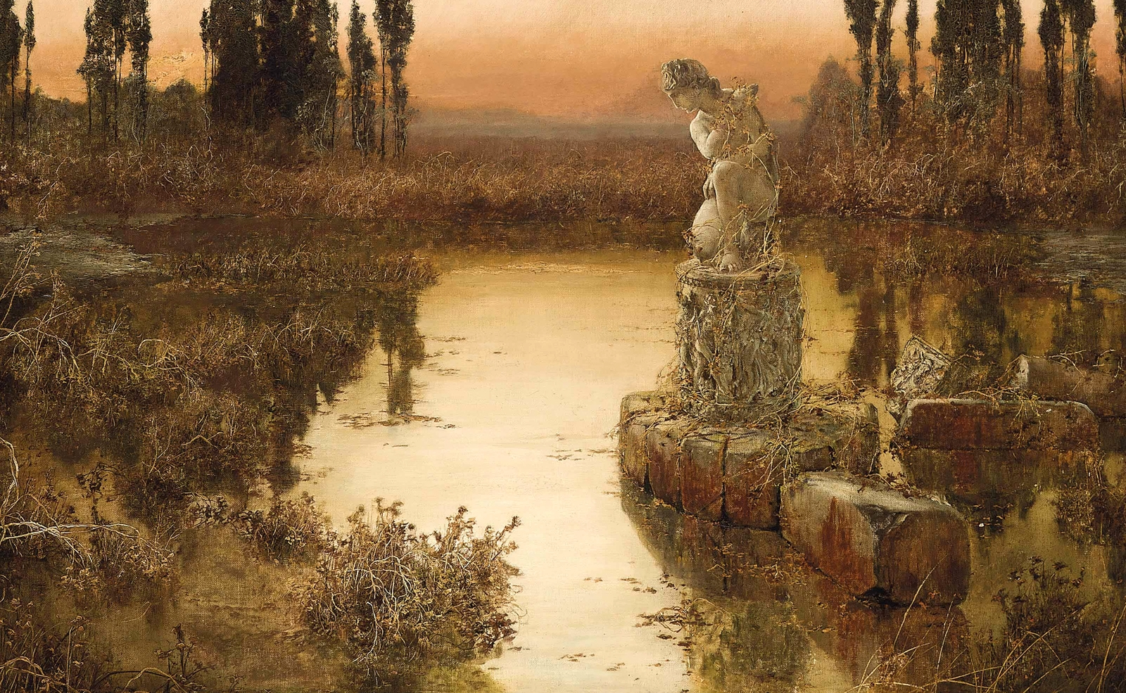 Enrique  Serra  y  Auque  A  Lakeside  at  Dusk