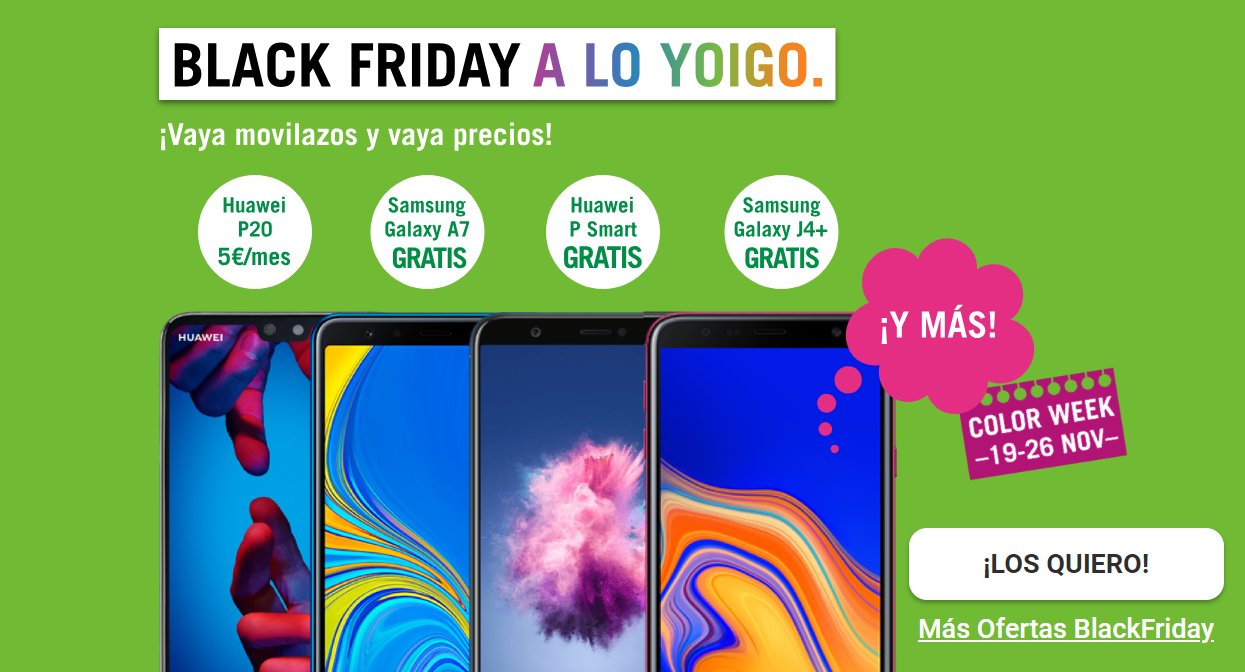 Black Friday Yoigo, denominado Color Week