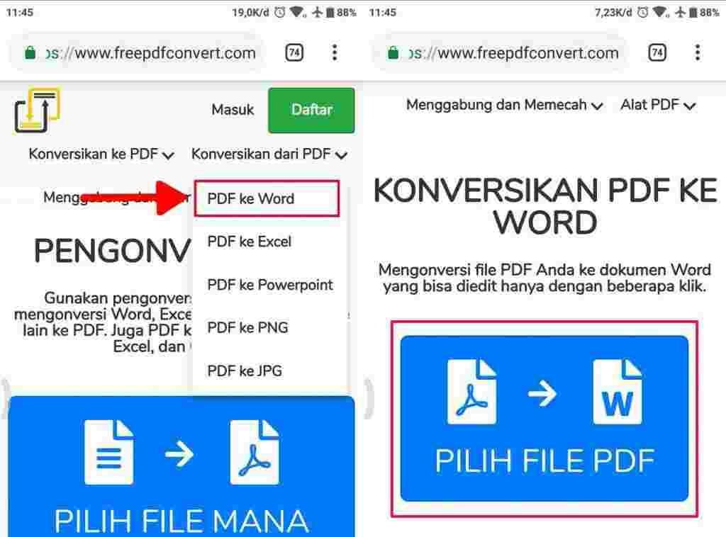 Cara mengubah dokumen PDF ke Microsoft word pada android 5