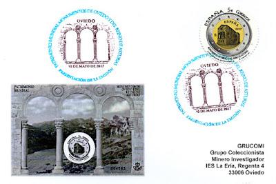 Tarjeta con Matasellos de Presentación de la Hoja bloque de Monumentos asturianos del patrimonio de la Humanidad