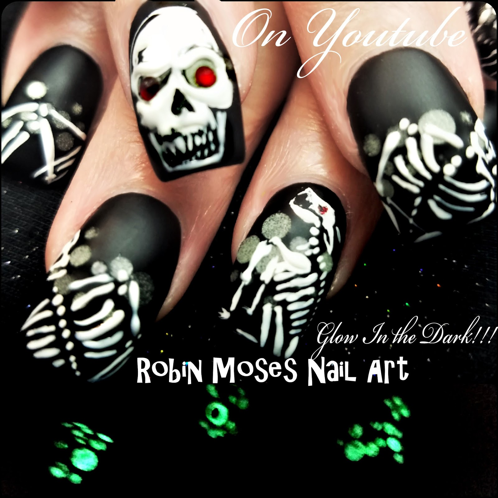 Nail Art By Robin Moses Halloween Nails That Glow Dog And Skull