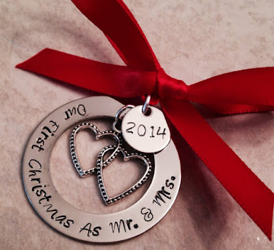 "If you're a newlywed couple, you might be thinking about starting an ornament collection. These ""Our First Christmas as Mr. and Mrs."" ornaments are a great way to begin. This one is from WhirlyBirdDesigns on Etsy."