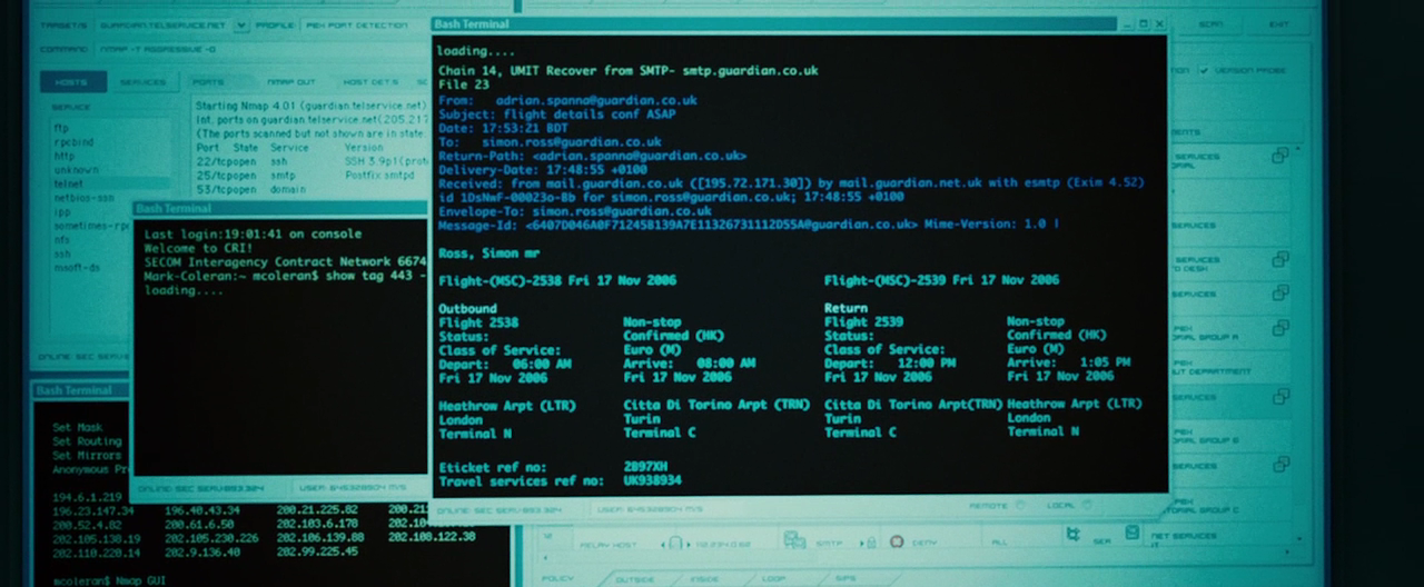 Bourne Ultimatum nmap cameo