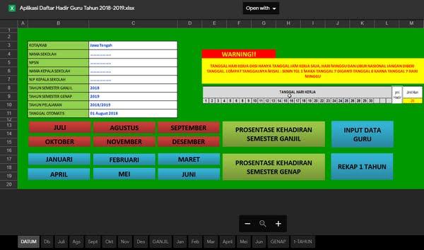Aplikasi Daftar Hadir Guru Format Excel Siap Pakai
