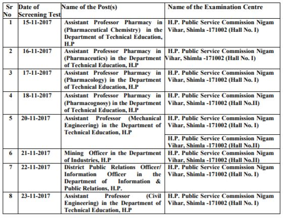 image :  HPPSC Assistant Professor Exam Dates 2017 - Screening Test Schedule (College Cadre) @ TeachMatters