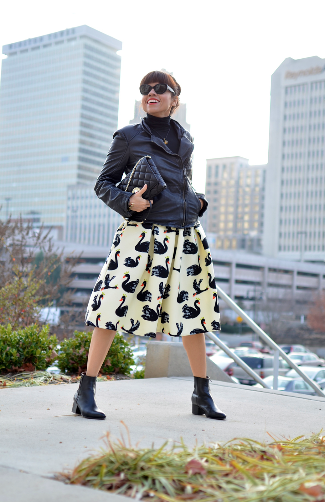 Biker jacket with full skirt