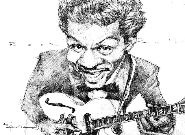 Chuck Berry caricature drawing Fede Bengoa