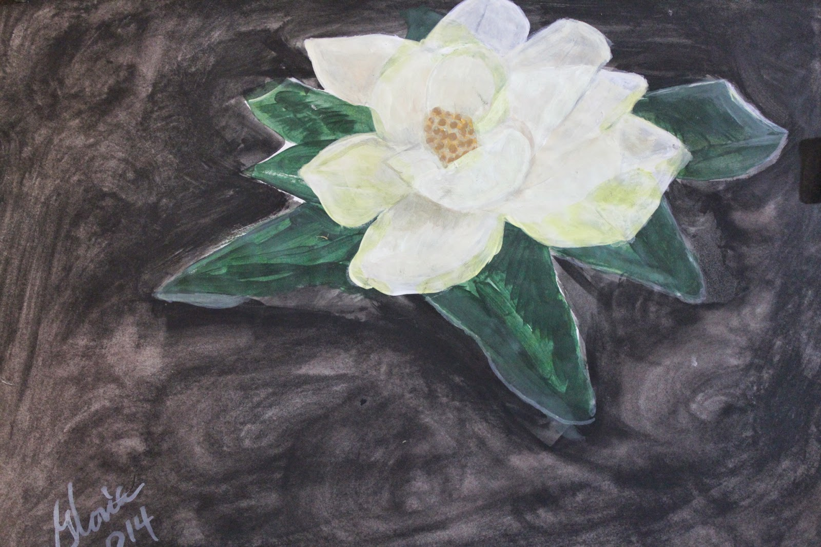 """Southern Magnolia"" sketch by Gloria Poole of Missouri; 2-April-2014; acrylics on paper"