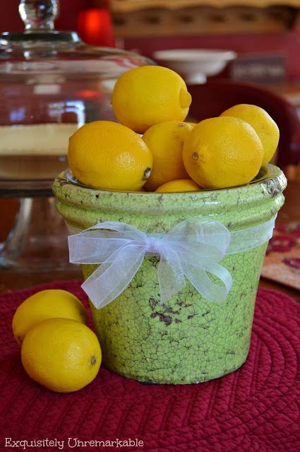 Lemons in a flower pot bowl