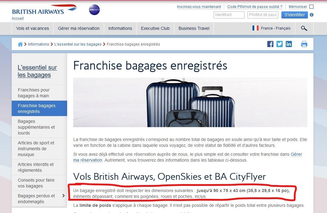 bas prix 9f153 e1e7c Mes Bagages pour le vol British Airways ~ Suivez vos rêves ...