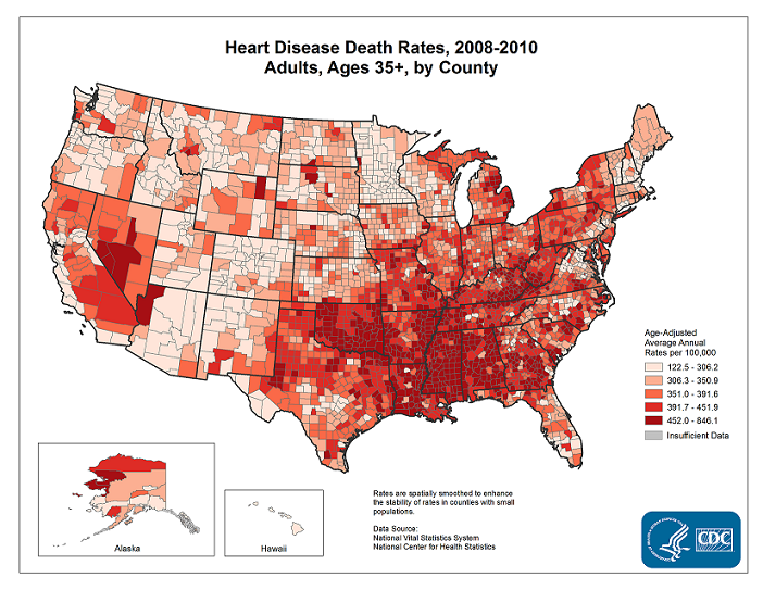 Heart Disease Death Rates (2008 - 2010)