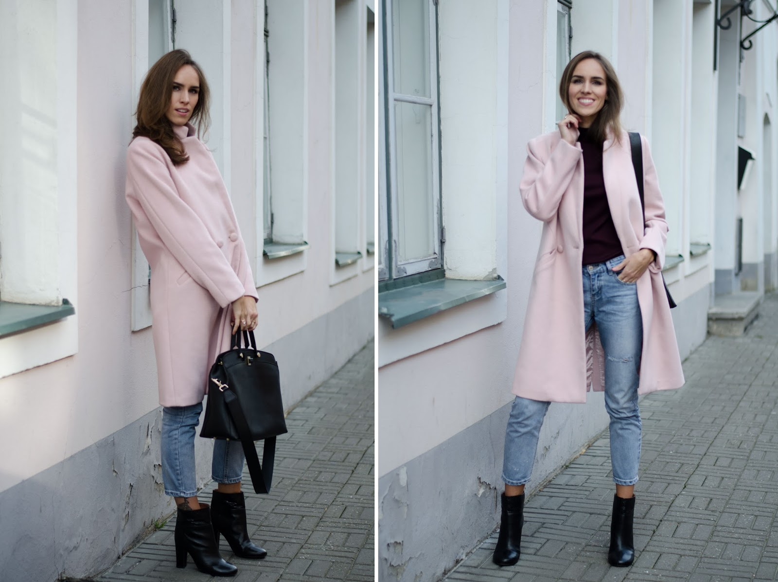 pink coat fall outfit