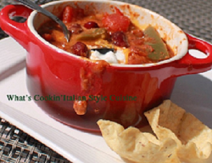 This is Guinness chili in a little red crock with chips