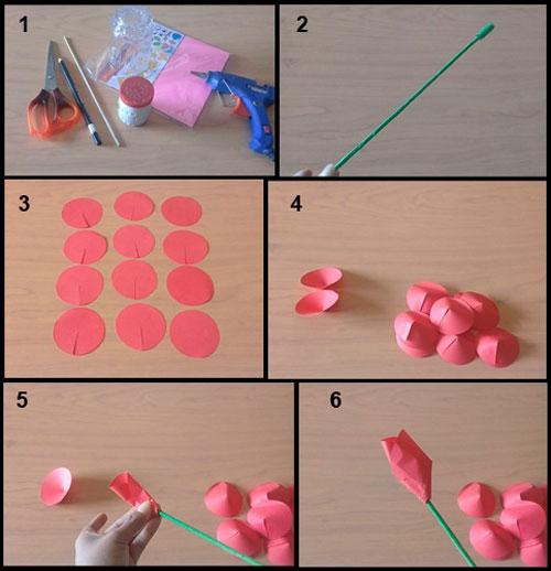 Cara Membuat Bunga Mawar Dari Kertas Origami Prakarya Sd