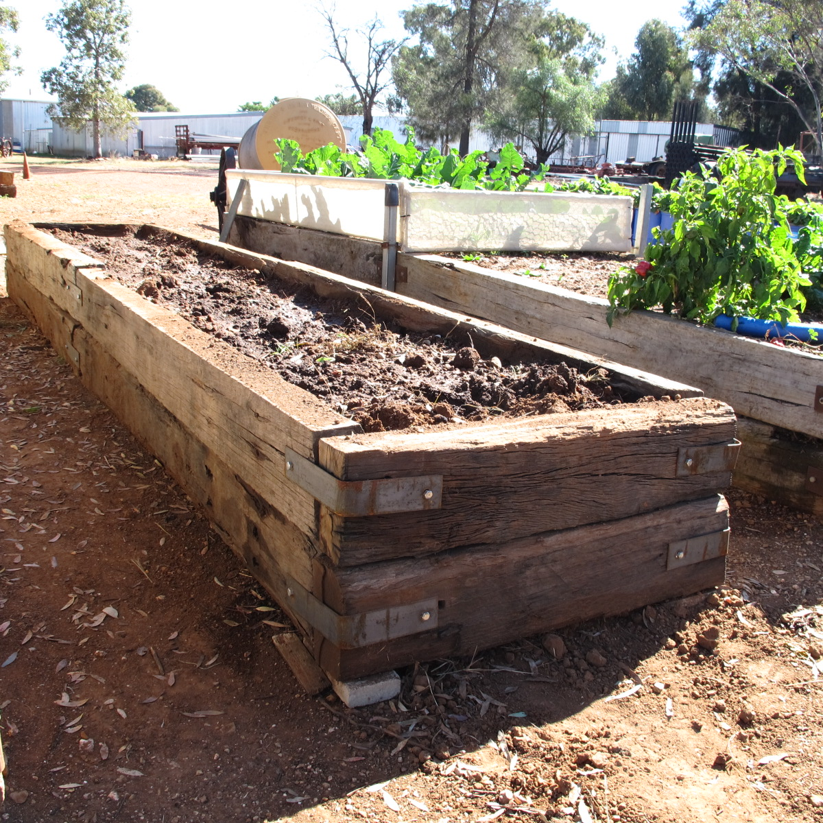 Railroad Ties Raised Beds
