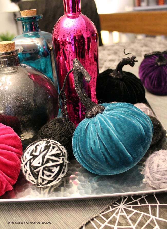 velvet pumpkins, teal pumpkin, halloween pumpkins, halloween centerpiece