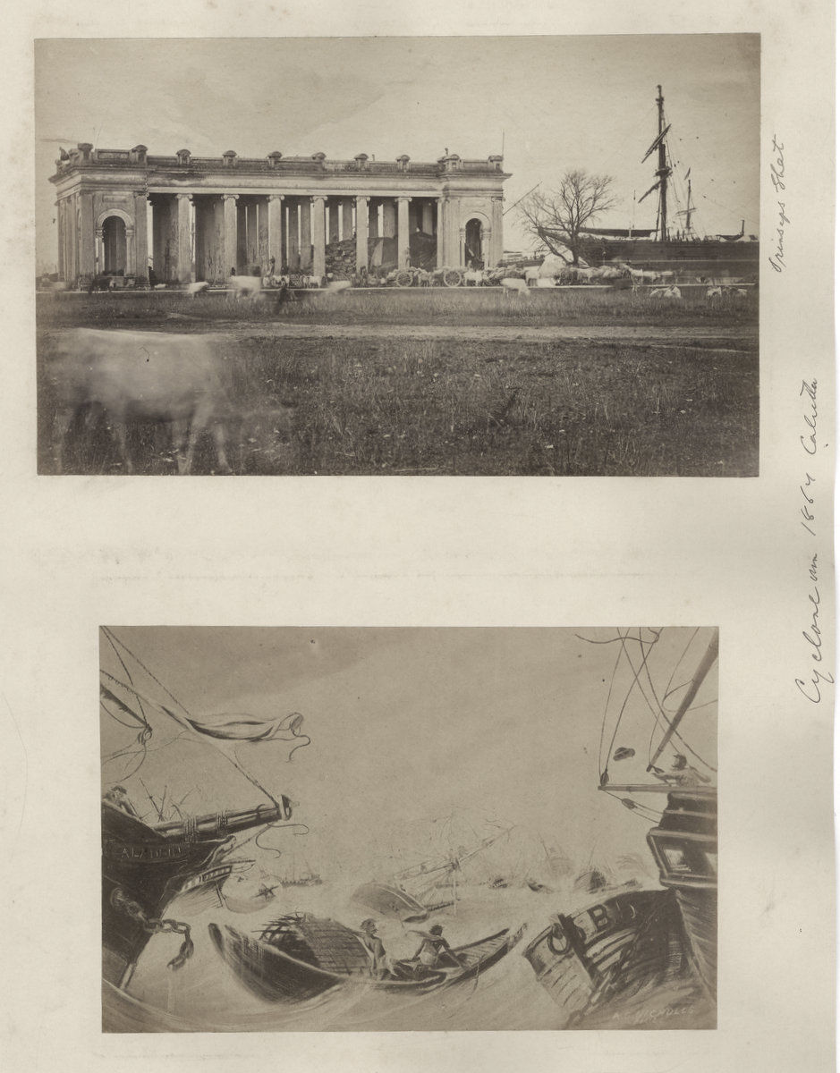 Prinsep Ghat Photographed after Calcutta (Kolkata) Cyclone - 1864