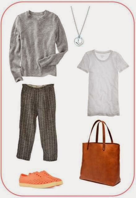 Gap sweater, Ace & Jig trousers, Tiffany necklace, JCrew Tee, Madewell Transport Tote, Native Shoes