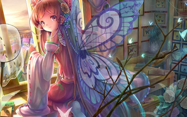 Anime Girl with Butterfly Wings