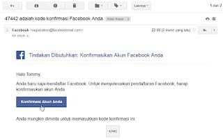 Tombol Konfirmasi Facebook
