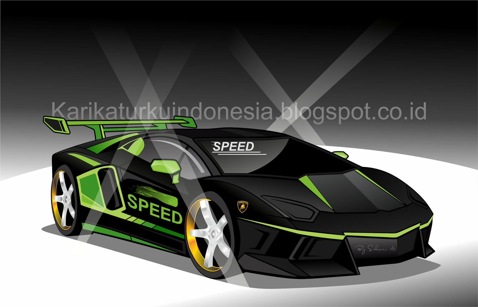 karikaturku indonesia mewarnai mobil sport lamborghini