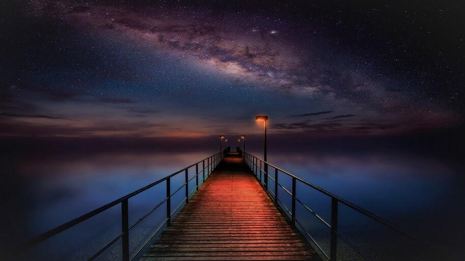 Ocean, Night, Sky, Pier, Bridge, Scenery, 4K, #4.2330