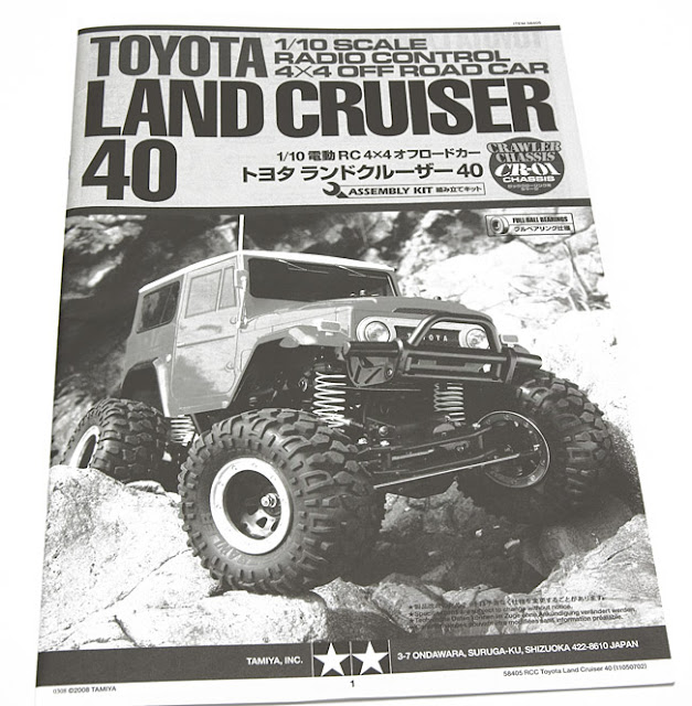 Tamiya CR-01 Toyota Land Cruiser owners manual