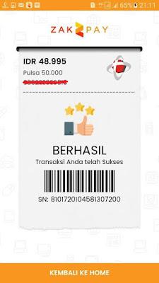 Bukti Pembayaran dari Aplikasi Zakpay Android