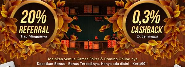 Bonus di Agen Judi Sakong Keris99