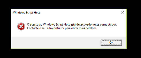 Erro no Windows Script Host desativado